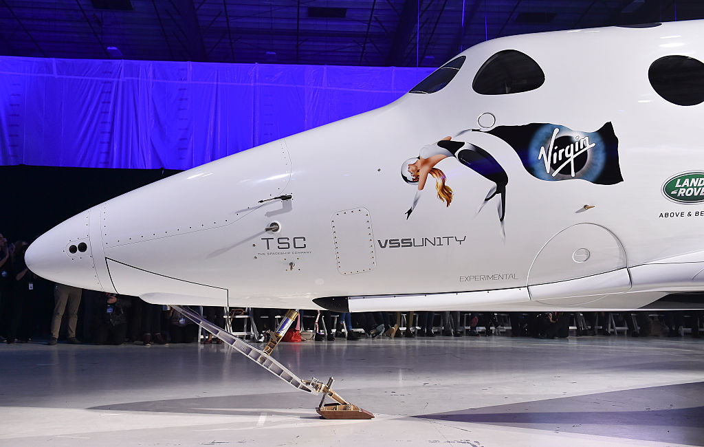 Virgin Galactic's new SpaceShip Two VSS Unity spaceship during a roll-out ceremony at the Mojave Air and Space Port on February 19, 2016 in California.