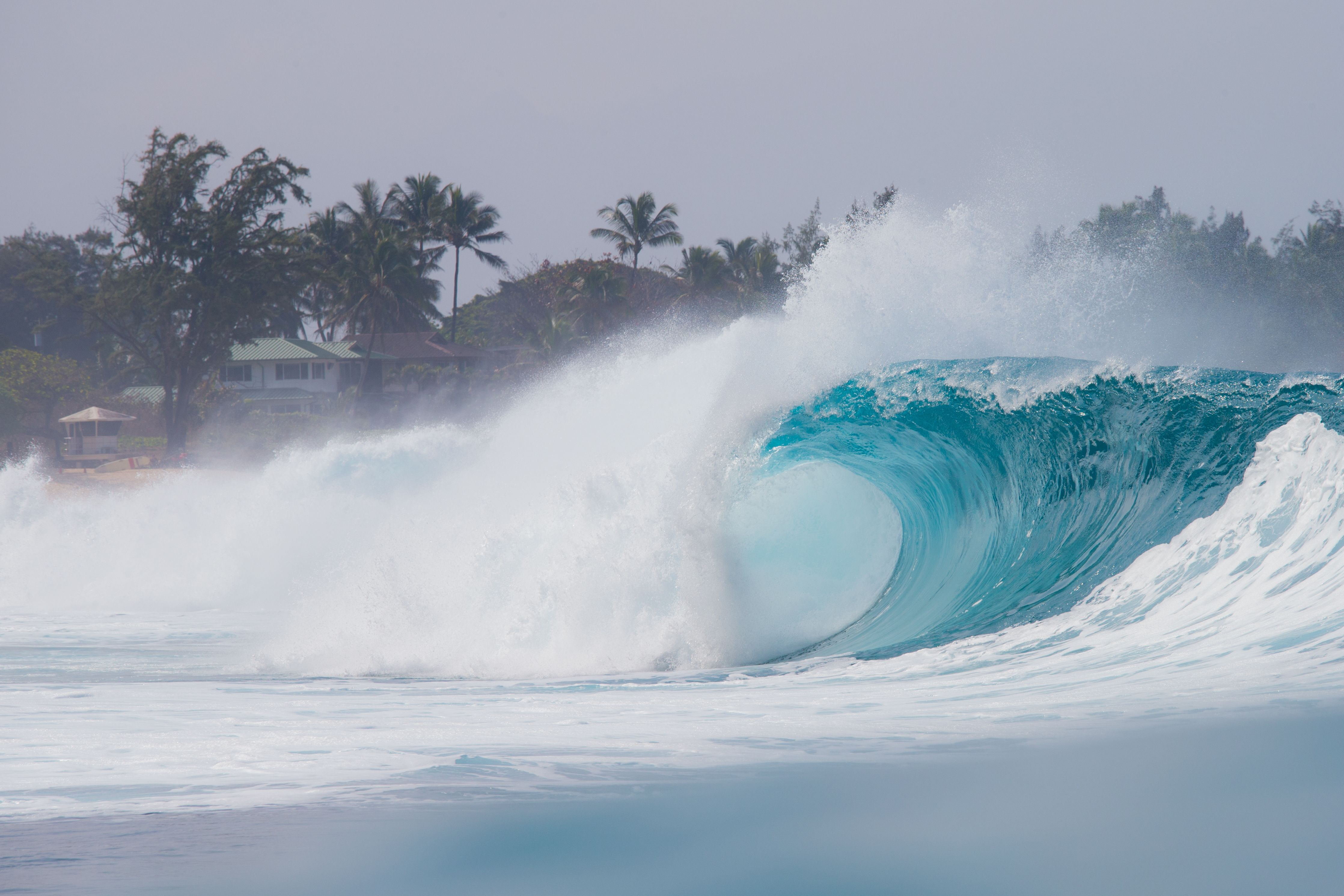 A perfect wave is pictured during the 2017 Volcom Pipe pro at Pipeline on the North shore of Oahu Island in Hawaii.