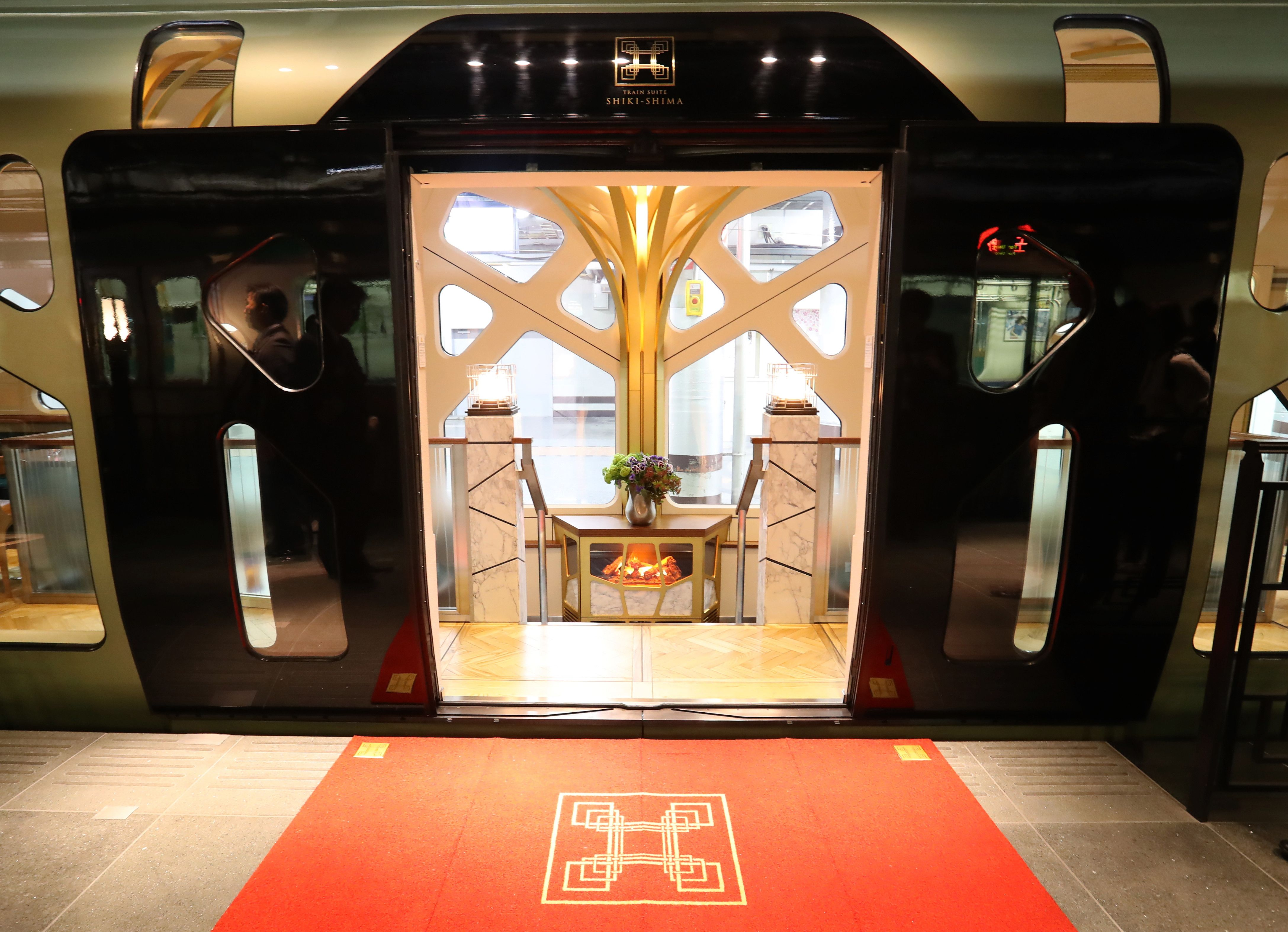 Entrance of the Train Suite Shiki-Shima, operated by East Japan Railway, in Tokyo.