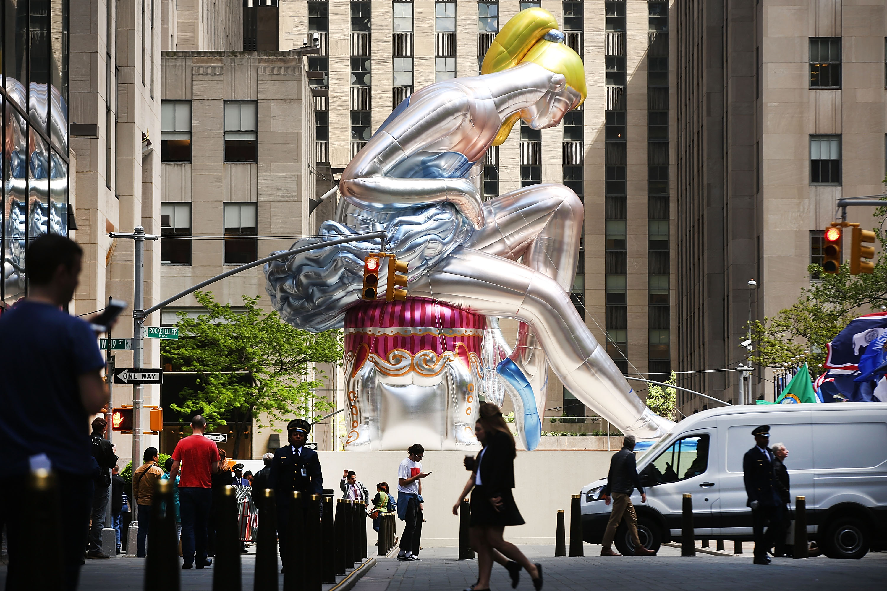 A giant inflatable ballerina is on display in Rockefeller Square in downtown Manhattan, New York City.