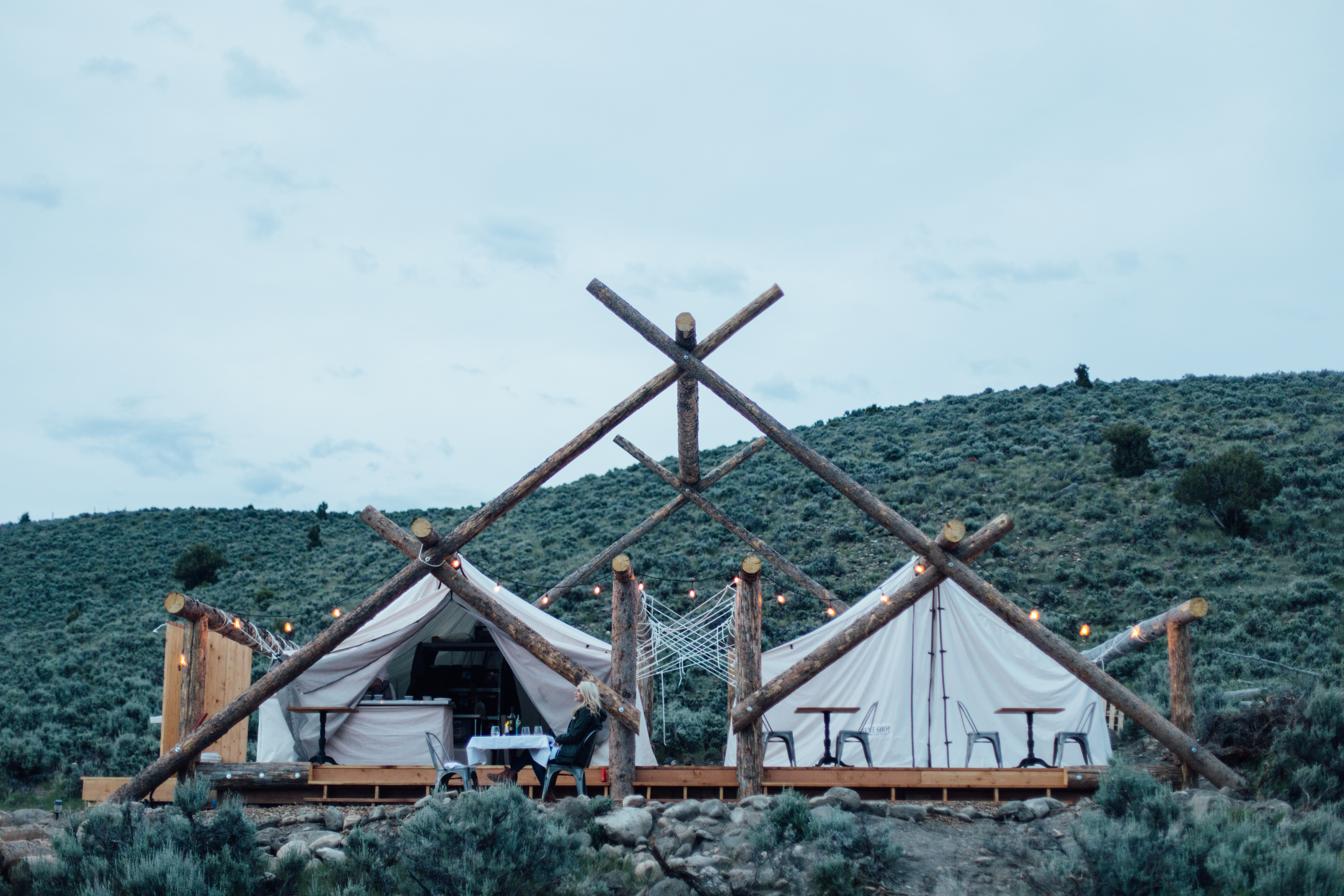 A luxury tent in the US provided by Collective Retreats