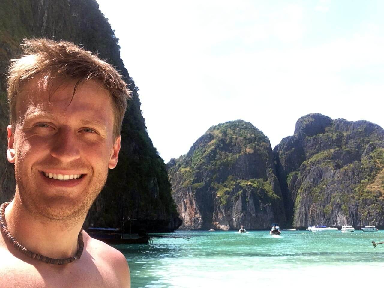 Dustin in Krabi in Thailand, 1 of 221 countries he visited.