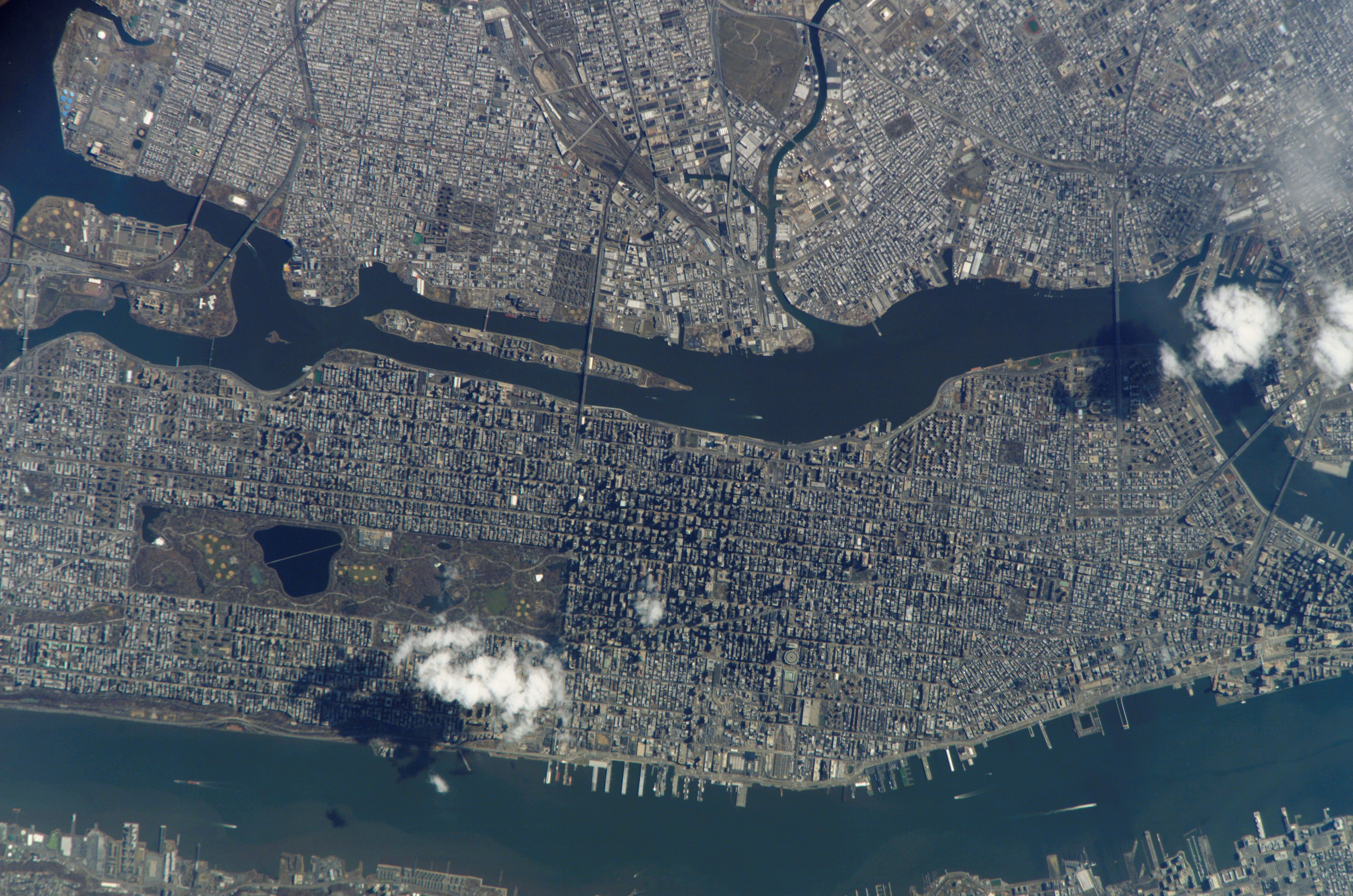 Central Park dominates the shot of New York City.