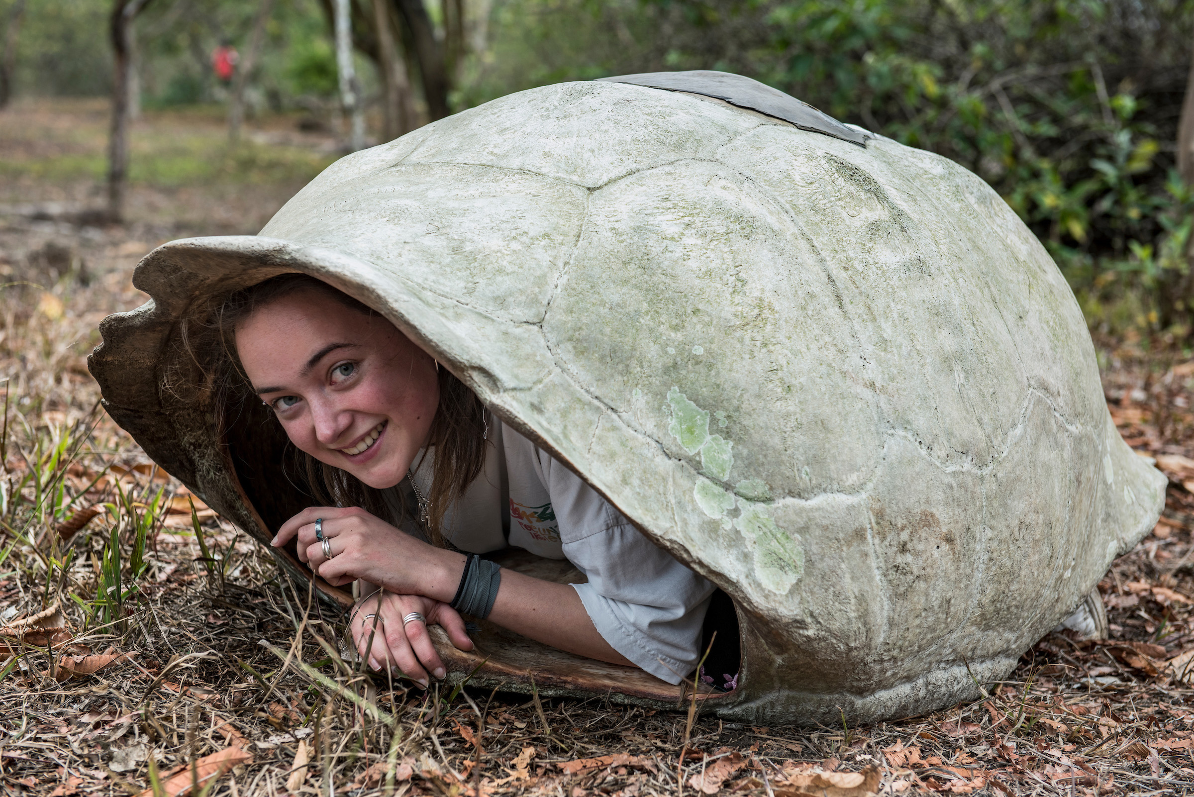 A tourist sits inside of the shell of a tortoise.