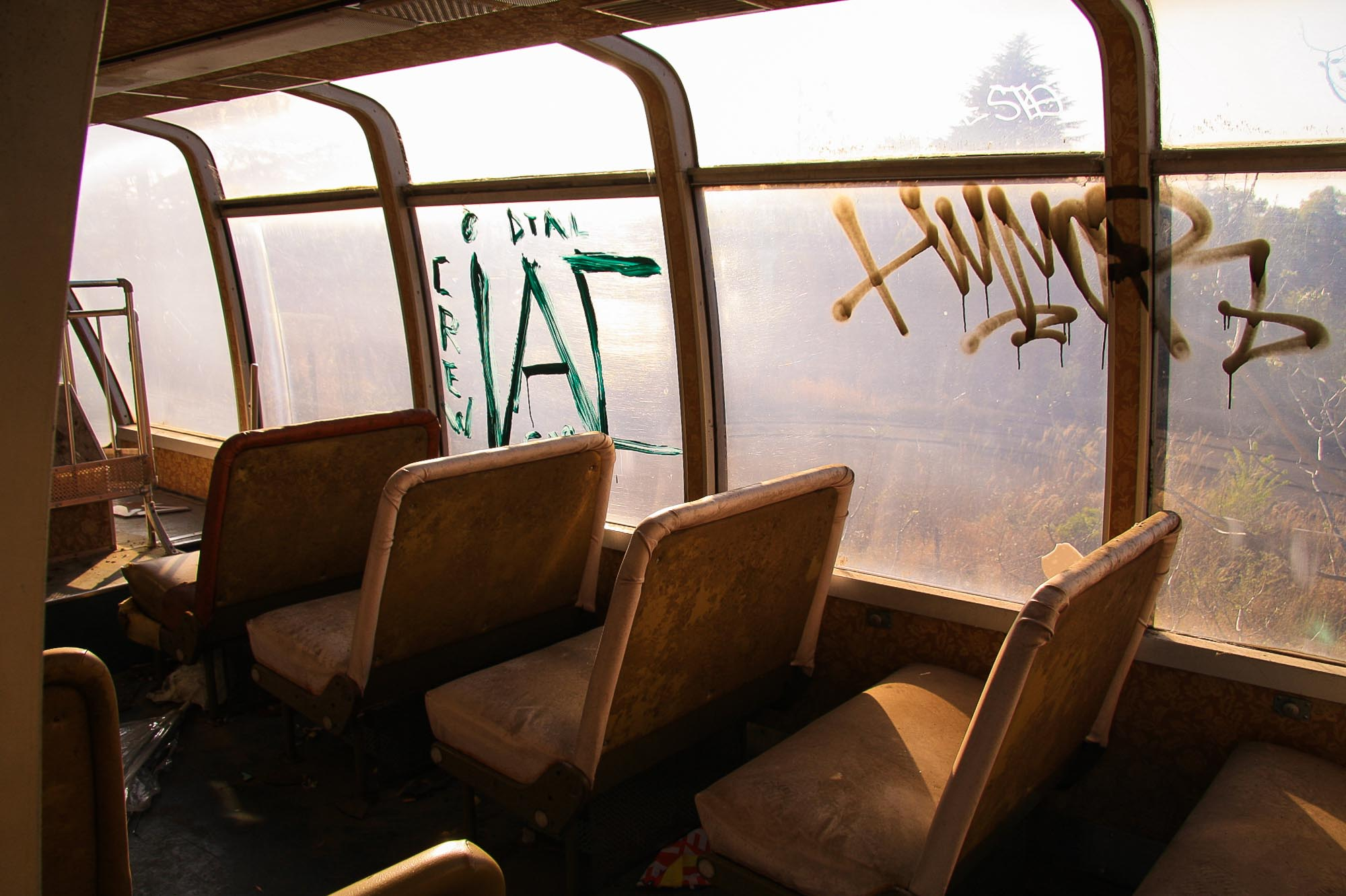 Graffiti on the outside of a bus in nara dreamland japan