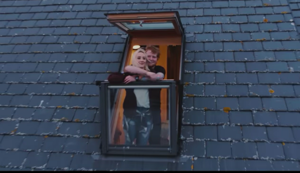 Ed Sheeran and Saoirse Ronan in a still from the video for Galway Girl.