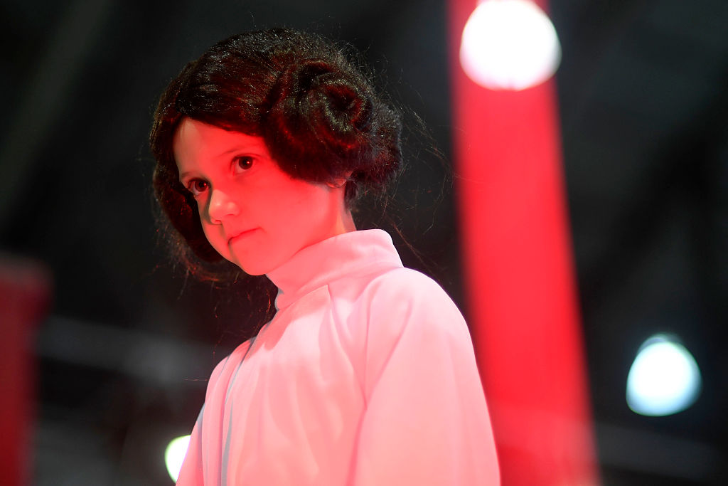Emma Leighton, 6, were a Princess Leia costume during a Star Wars themed day