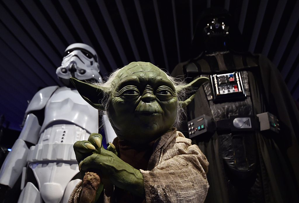 """A statue of Yoda is displayed at the preview of the """"Star Wars Vision' exhibition in Tokyo on April 28, 2015."""