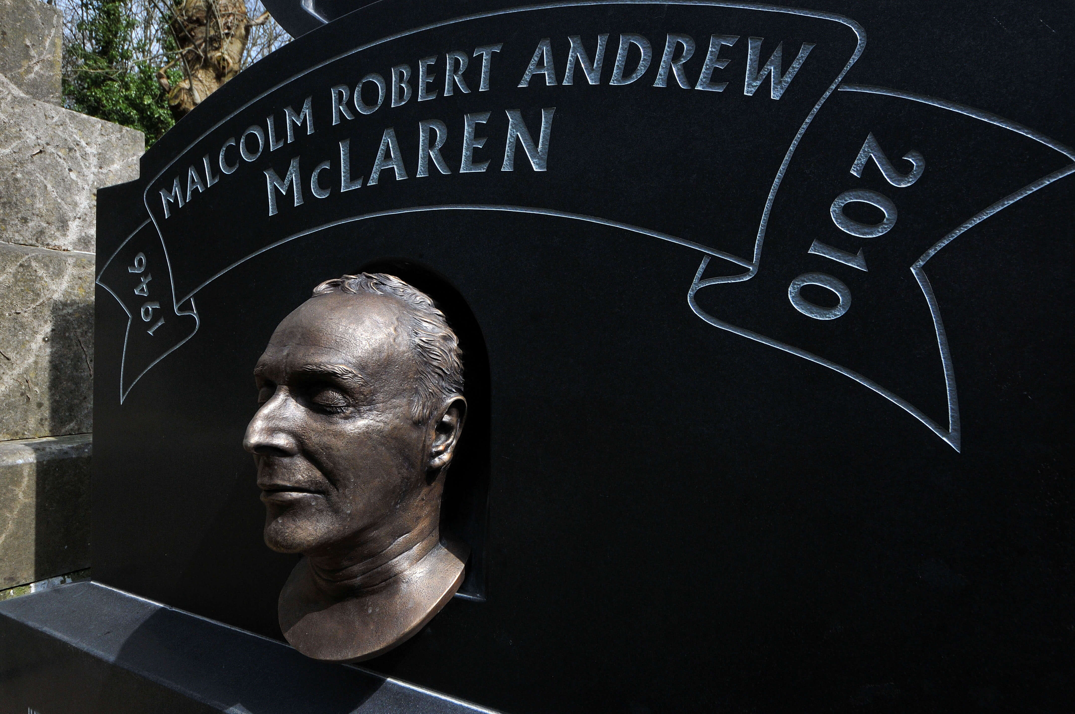 The headstone of punk rock guru Malcolm McLaren at Highgate Cemetery, London. Image by Jim Dyson/Getty Images