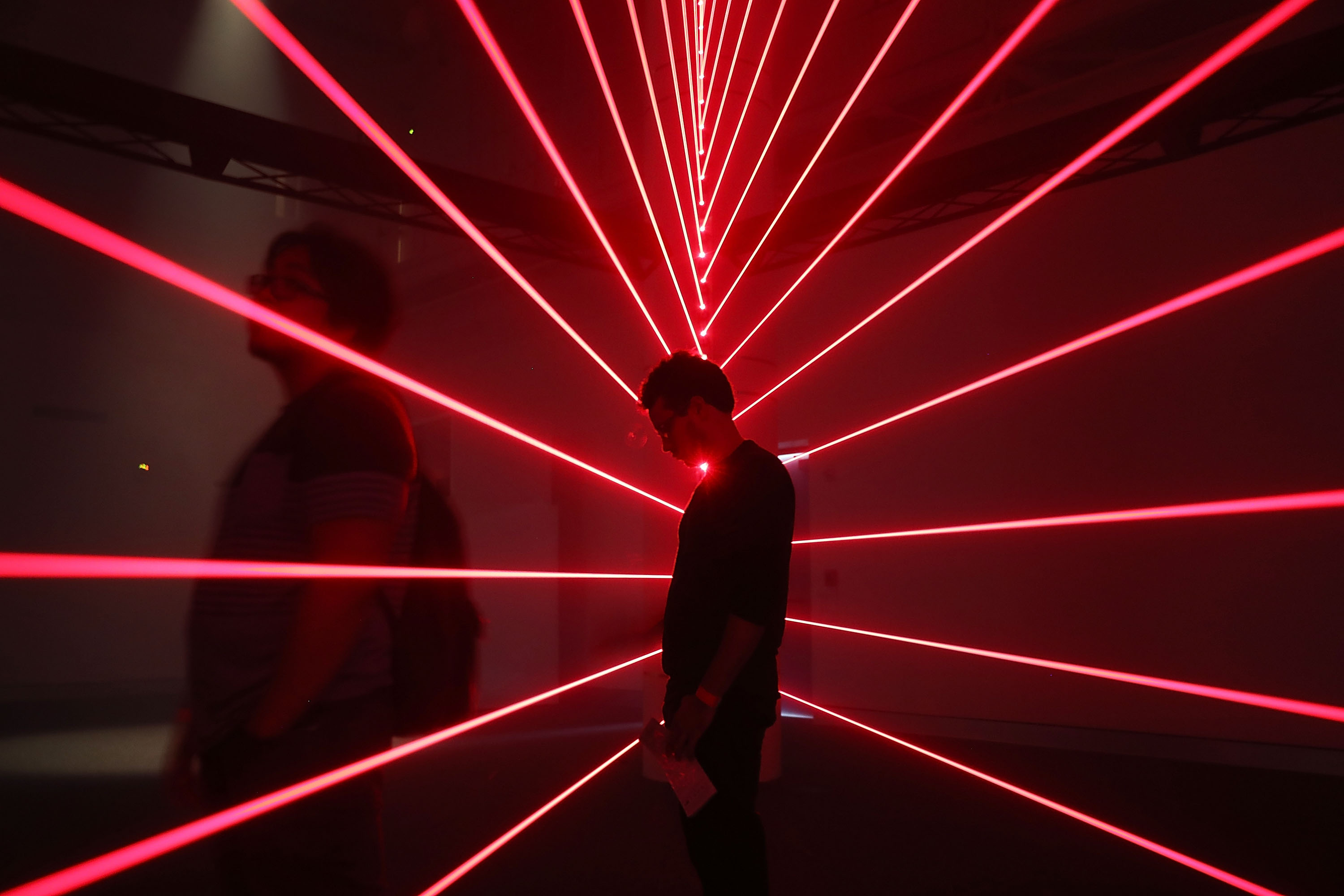 A laser exhibition at the frost museum of science in Miami.