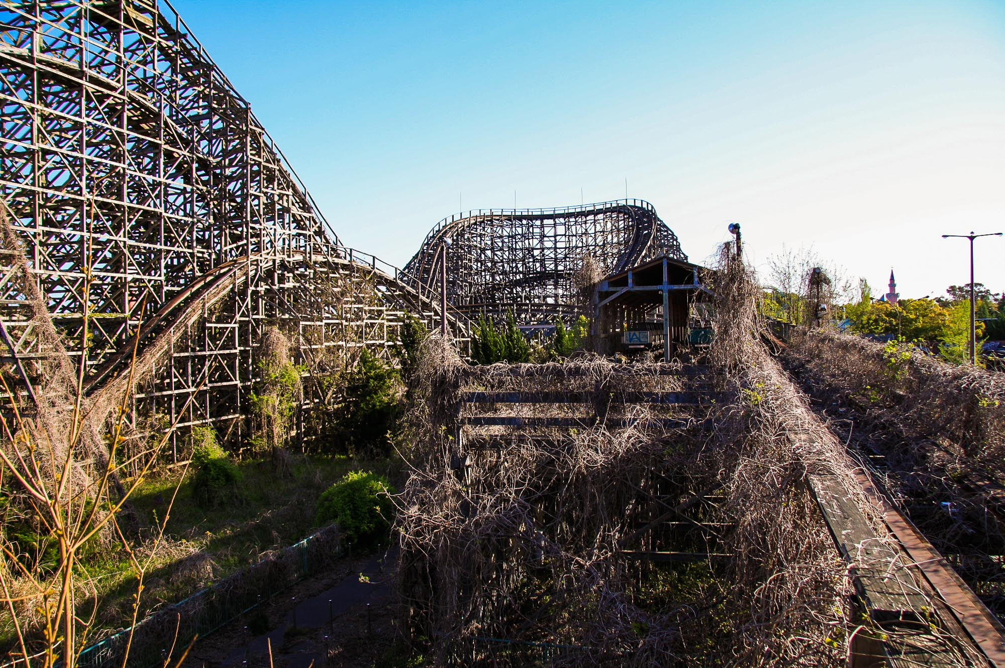 Overgrowth on a roller coaster ride at Nara Dreamland