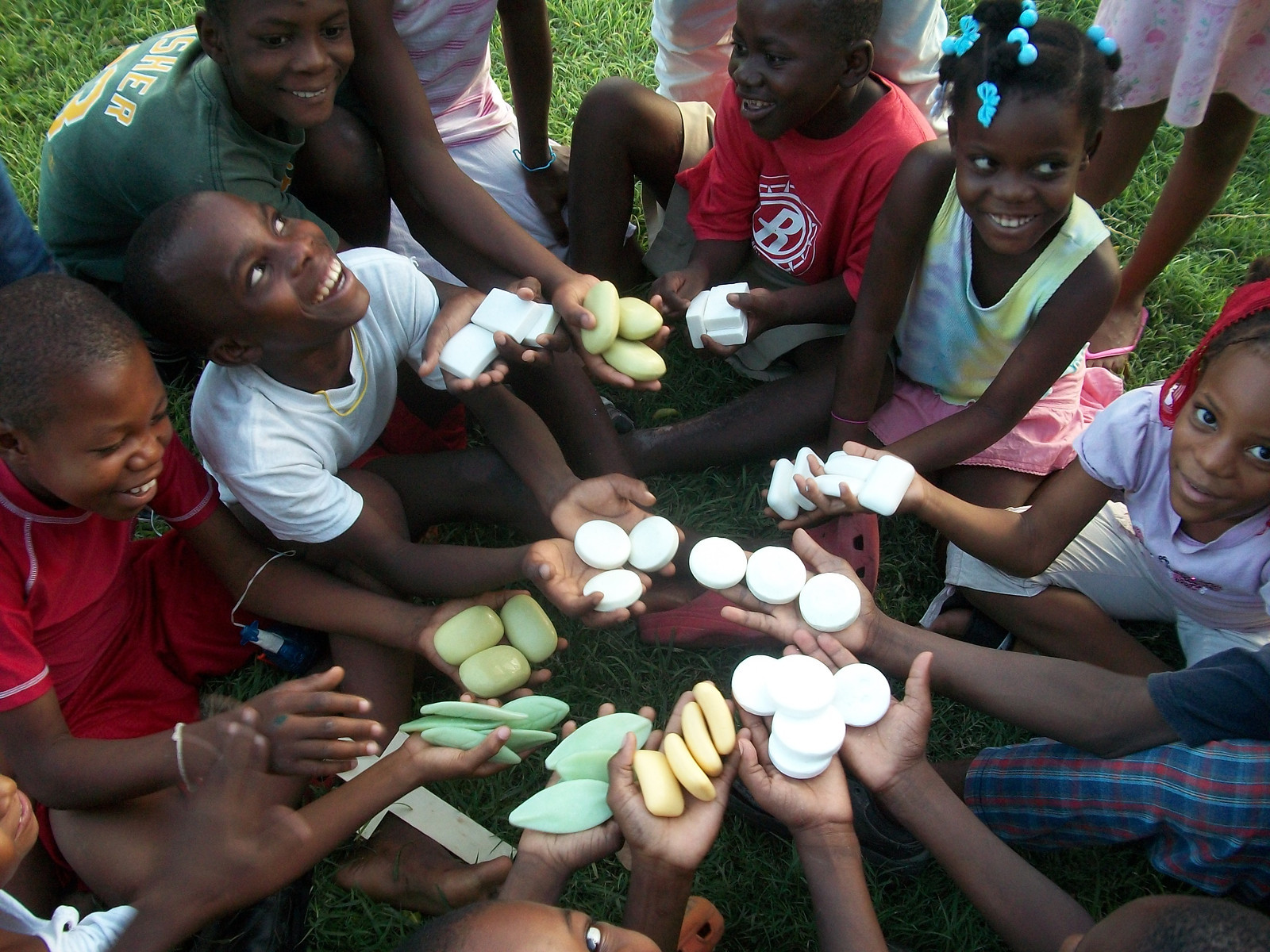 Children received the finished product of recycled soap bars.
