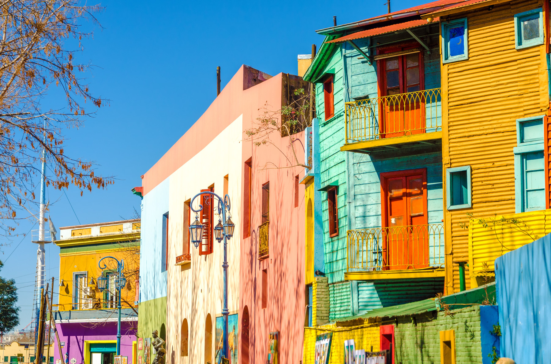 Bright colors of Caminito street in La Boca neighborhood of Buenos Aires, Argentina.