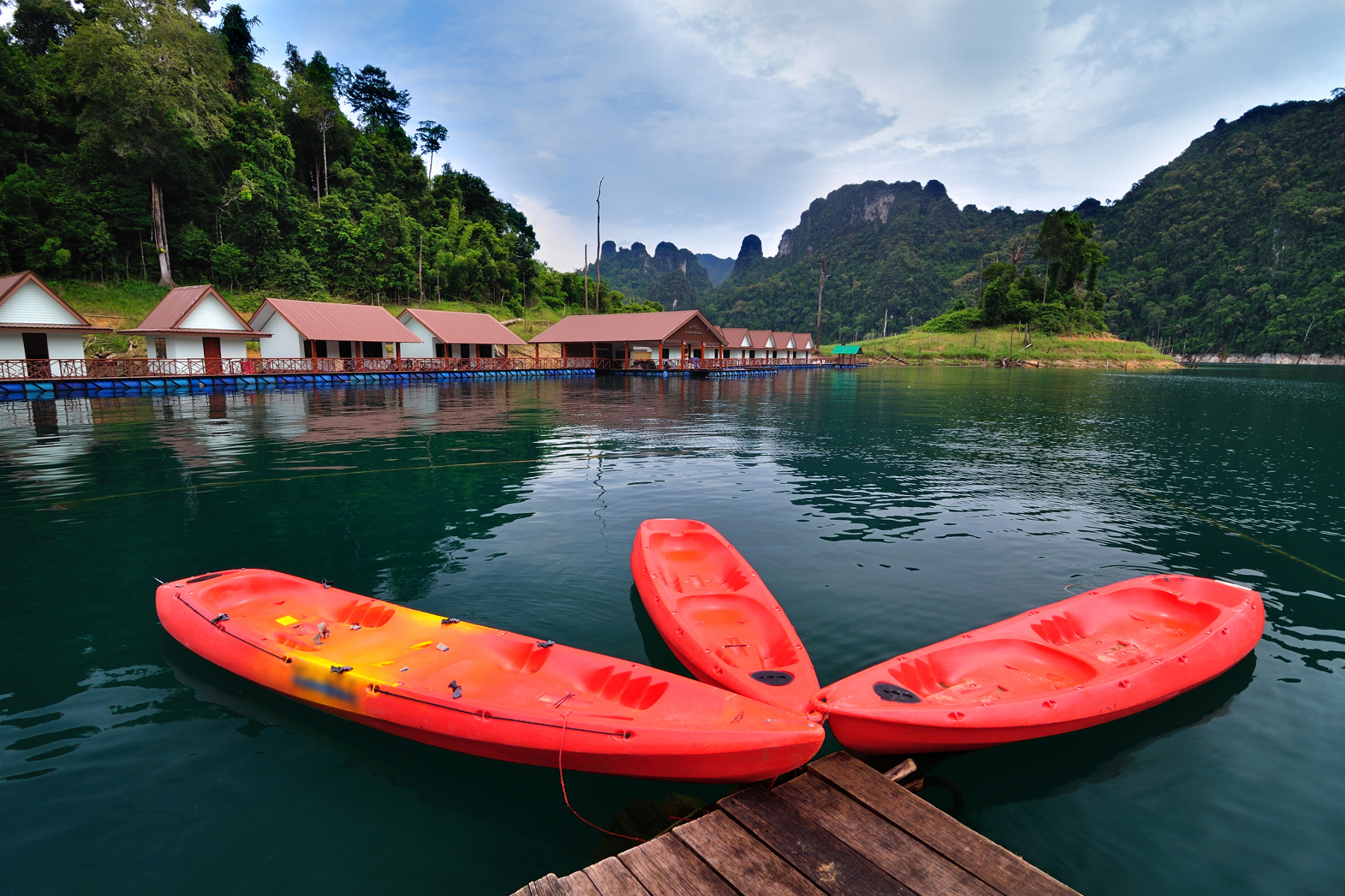 Canoes in the Thai national park