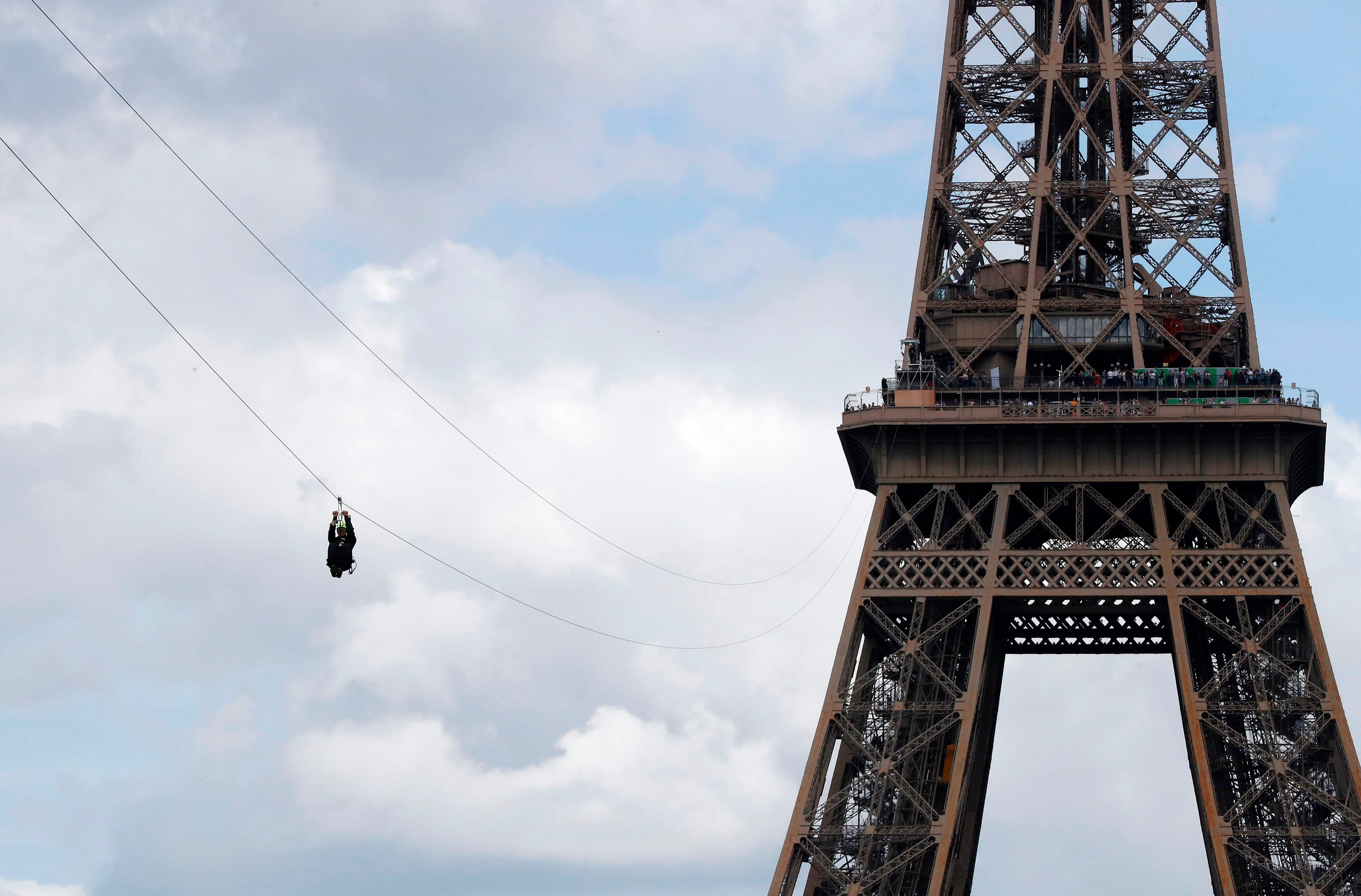 A free zip line has opened at the eiffel tower for Floors of the eiffel tower