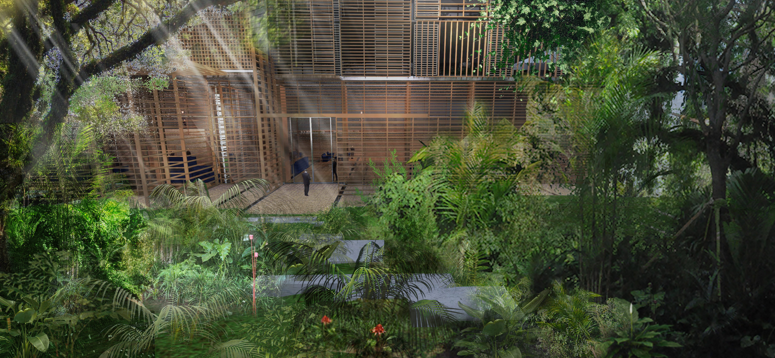 The design is for a landscape building that feeds into the lush local vegetation.