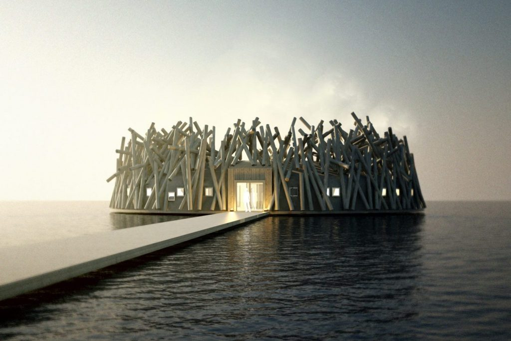 A new floating hotel and spa concept with 4 degree water has been launched in Northern Sweden. Image: Off the Map Travel