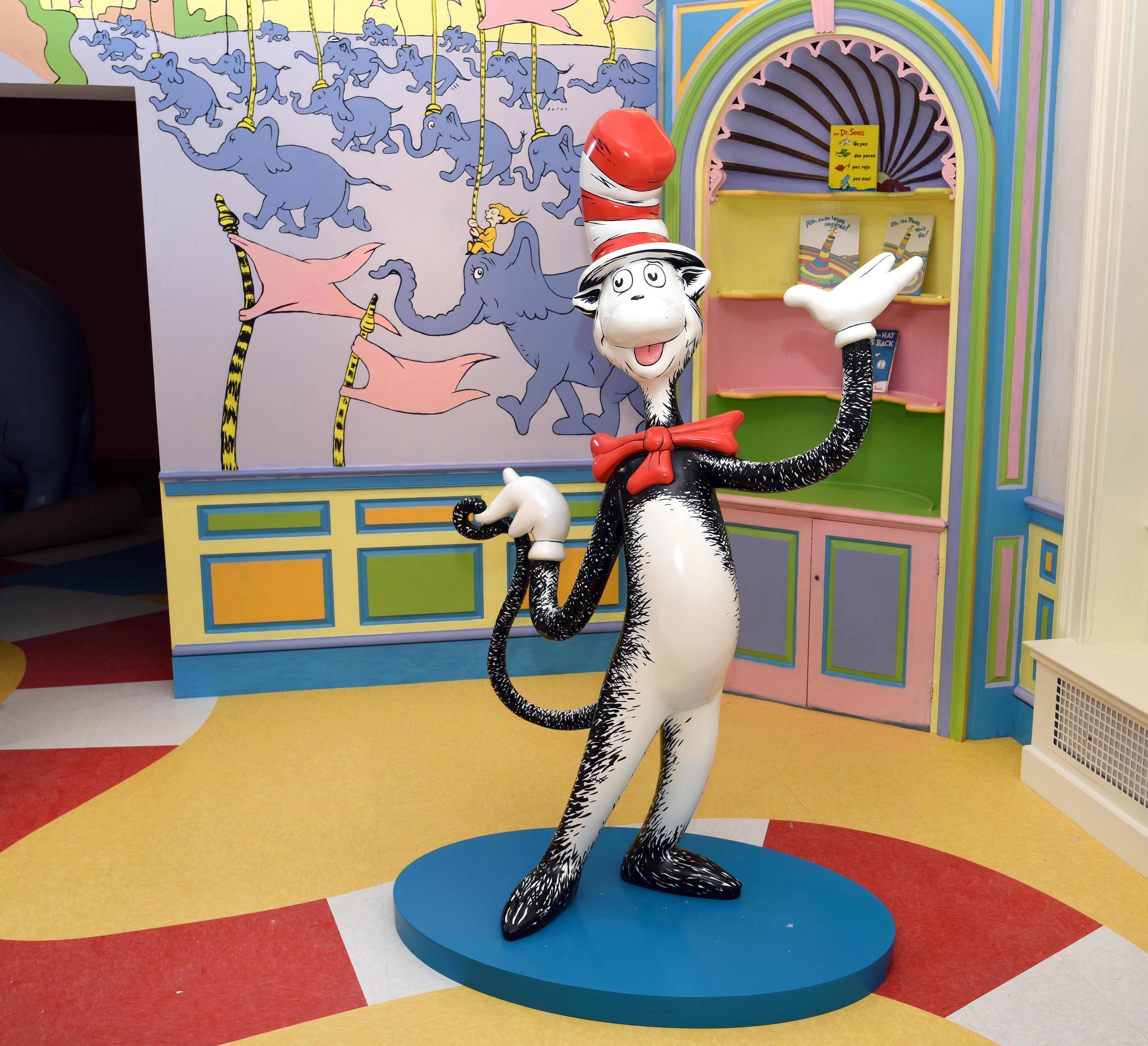 The Cat in the Hat statue inside of the Museum.