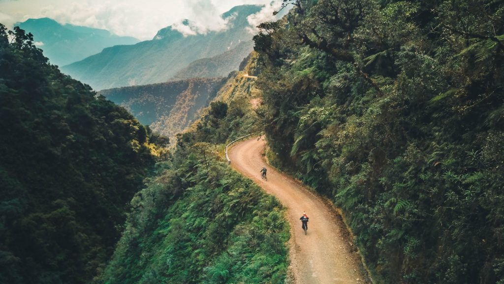 Cyclists on Bolivia's Death Road