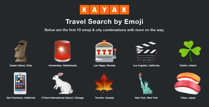 Book a trip to these destinations using emojis.
