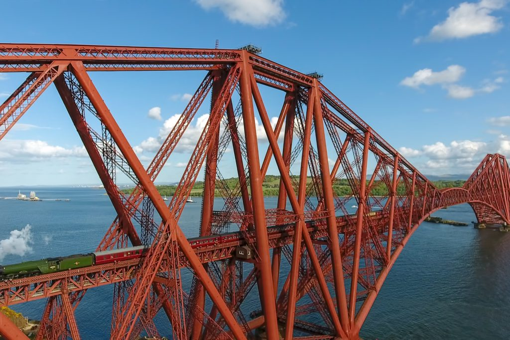 The Flying Scotsman passes over the Forth Rail Bridge to North Queens Ferry, the Kingdom of Fife.