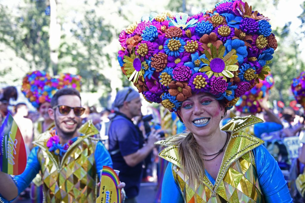 Revellers in fancy dress take part in the Gay Pride Parade in Madrid in 2016. Image: Javier Soriano/AFP/Getty Images