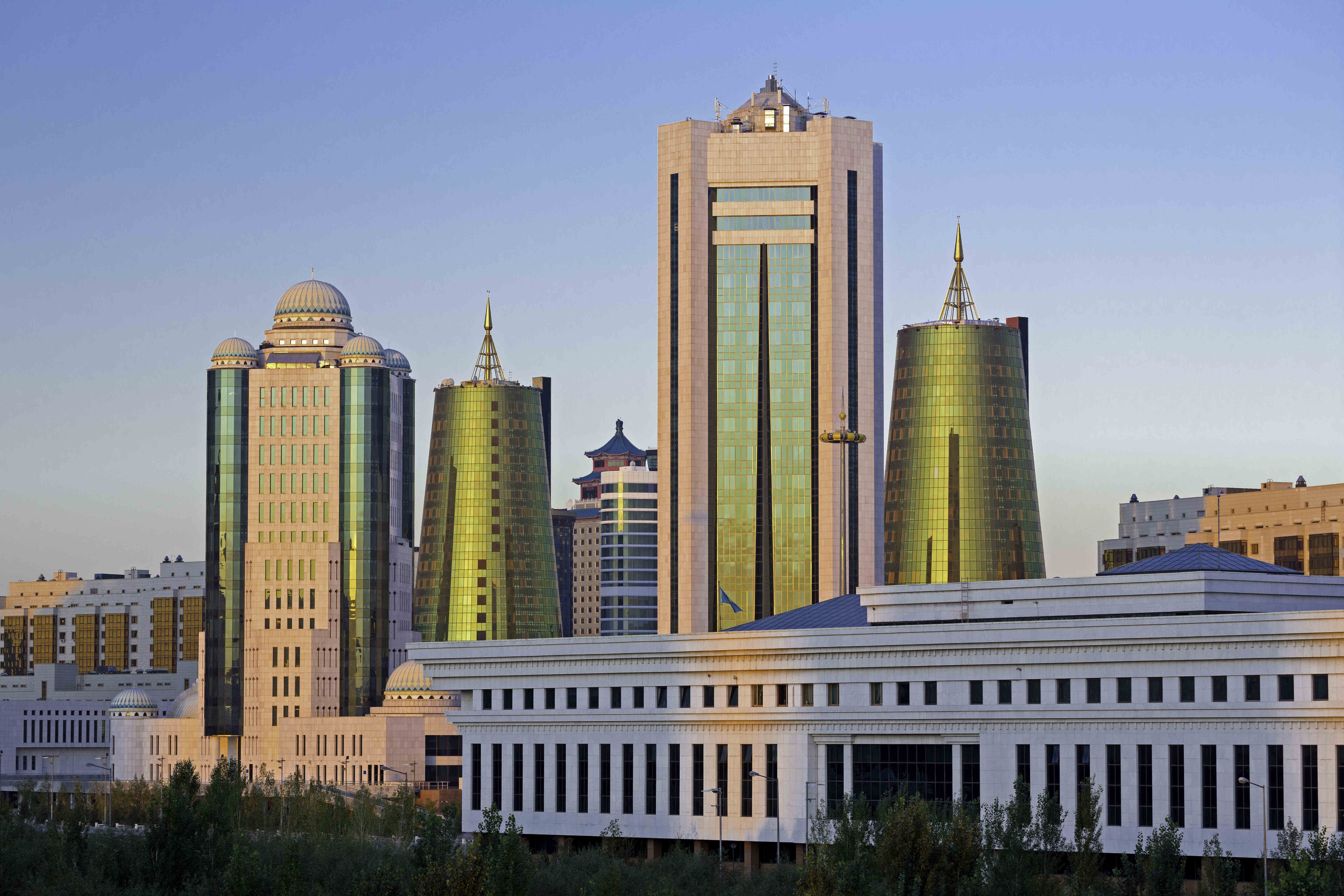 Central Asia, Kazakhstan, Astana, View of city and Ak Orda Presidential Palace