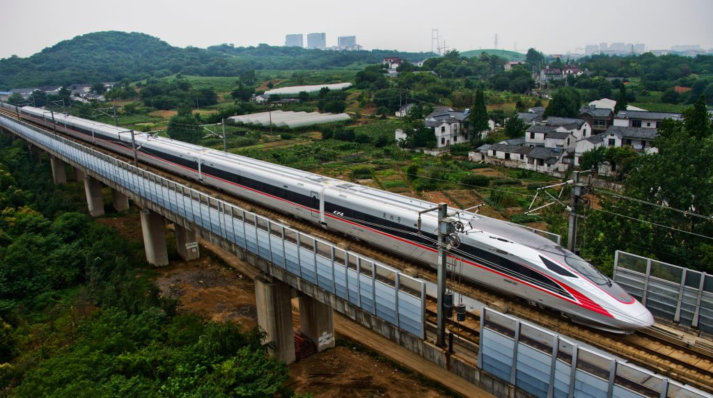 "China's new high speed train ""Fuxing"" travels during its first route from Beijing to Shanghai on June 26, 2017 in Zhenjiang, China."