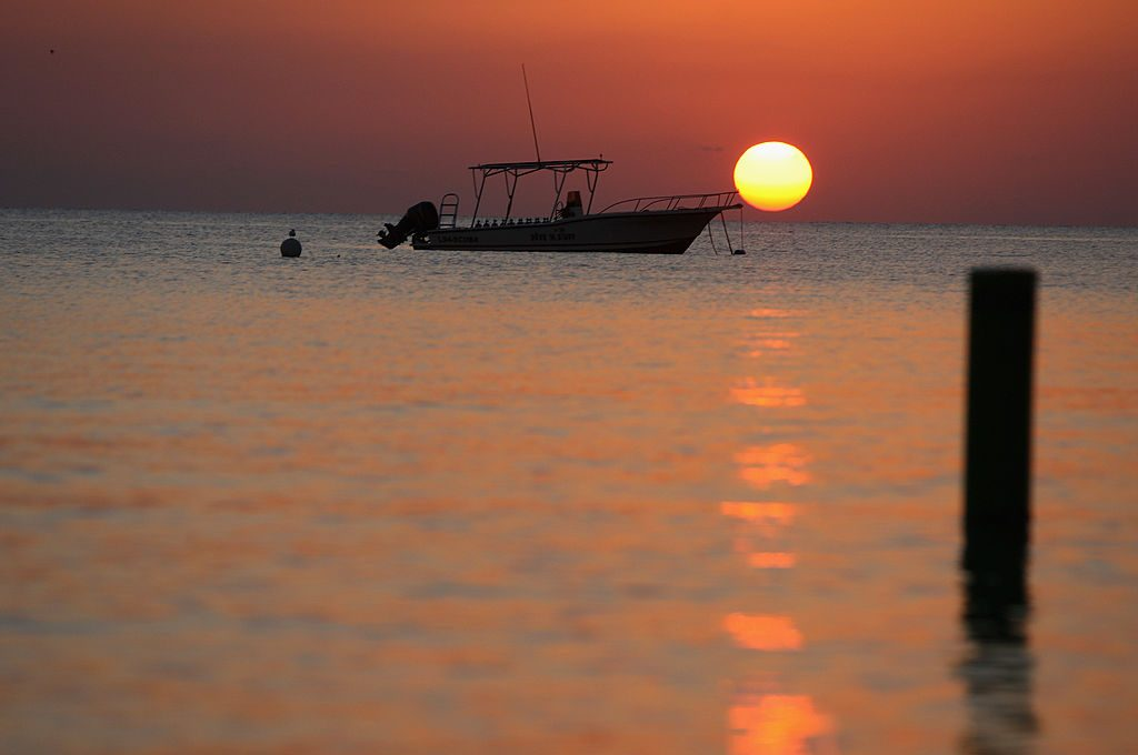 Sunset off Seven Mile Beach in Grand Cayman.