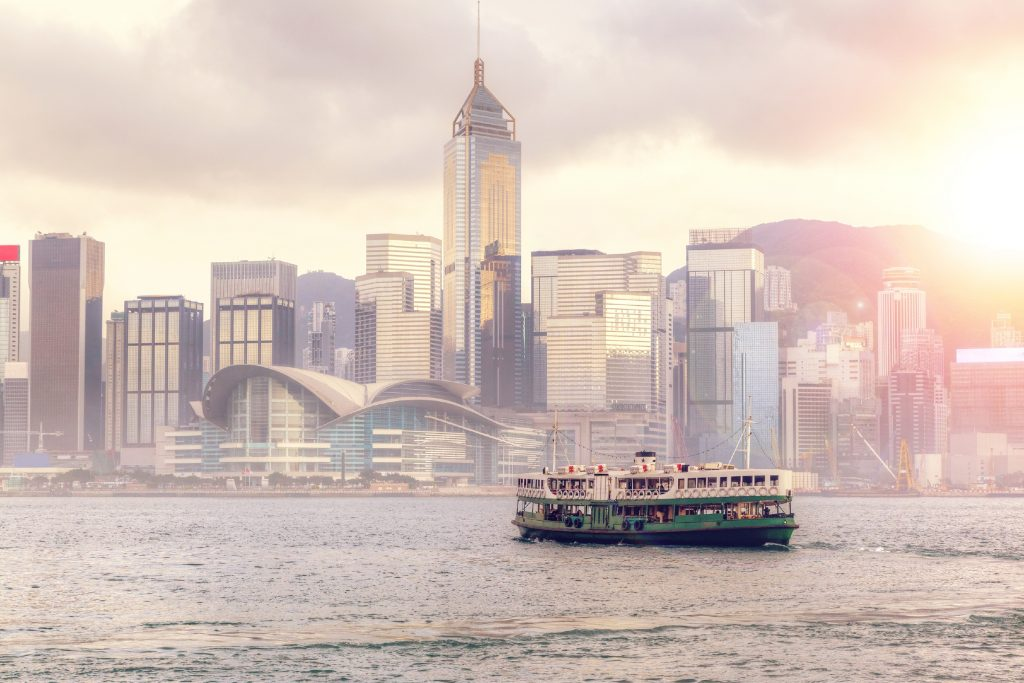 The Hong Kong skyline beyond Victoria Harbour from Tsim Sha Tsui.