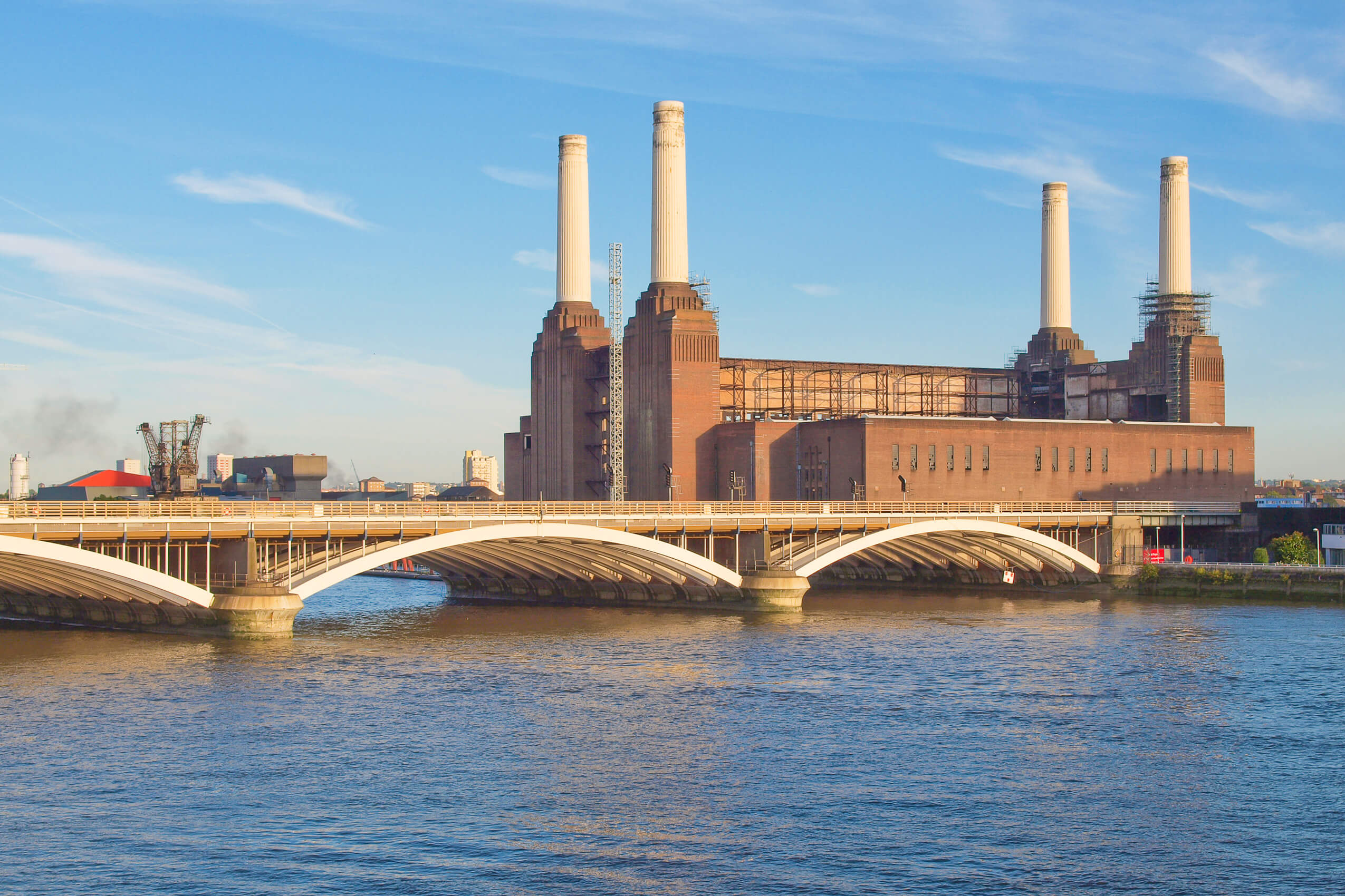 Battersea Power Station, with its four iconic chimneys
