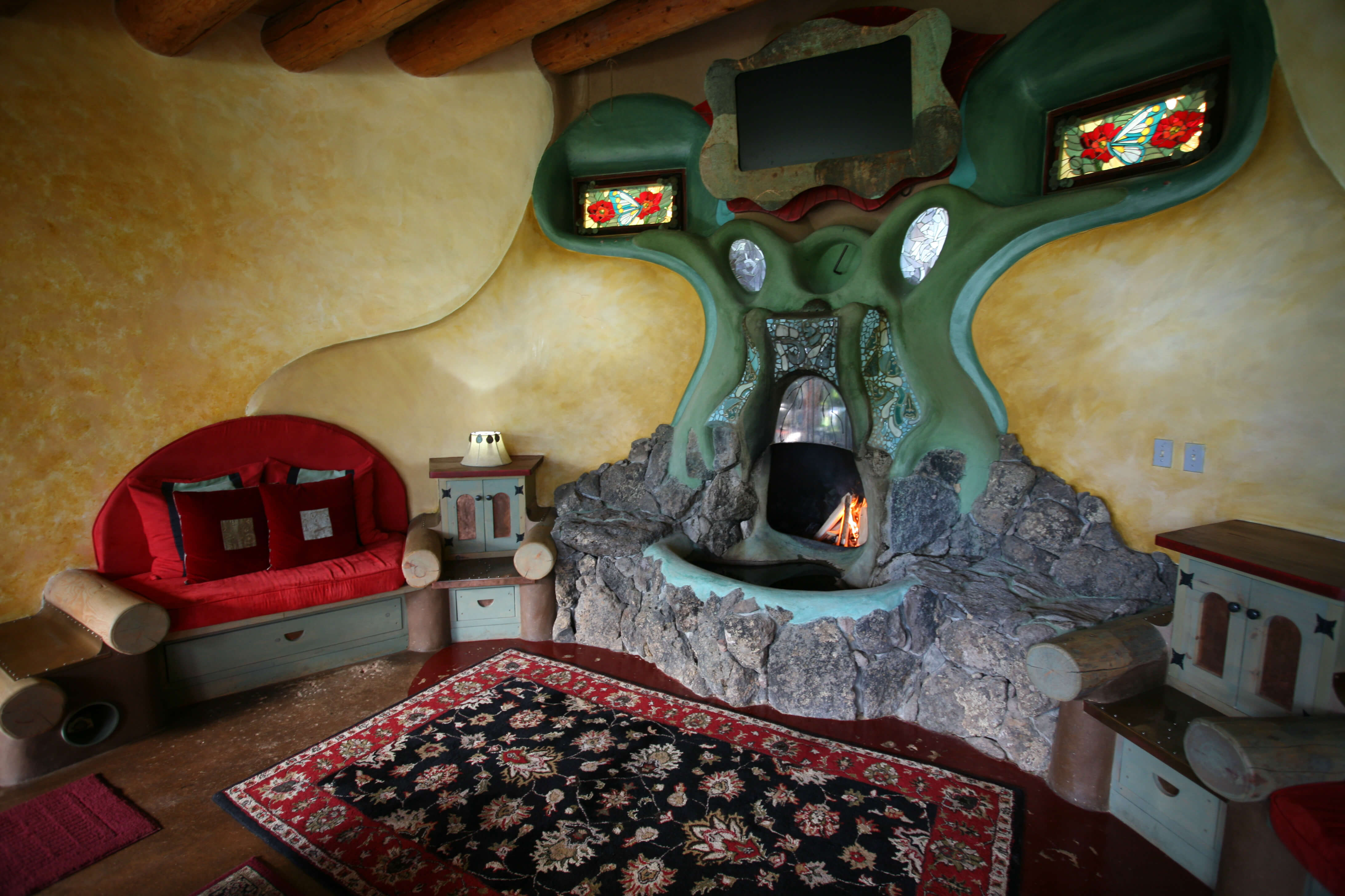 The fireplace in the Phoenix earthship, the house is valued at $1.5m.