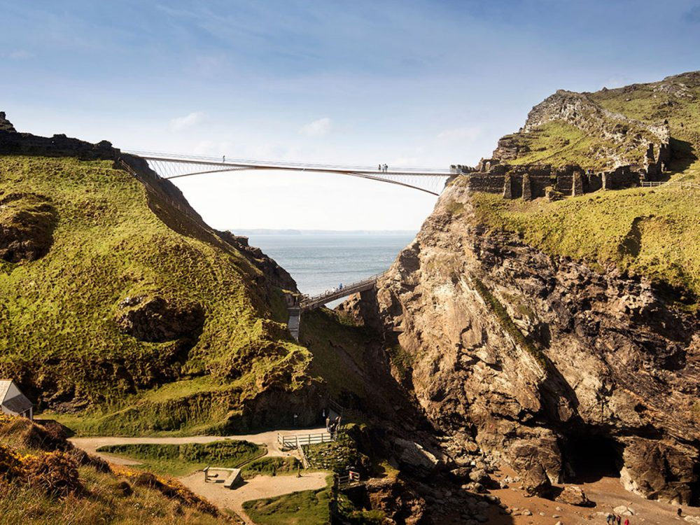 An artist's rendition of the proposed bridge at Tintagel.
