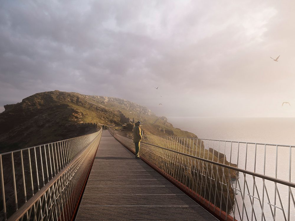 The proposed bridge would provide step-free access onto the island. Image courtesy of Ney+Partners
