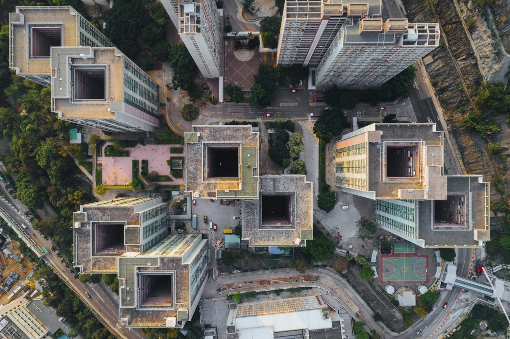 Skyscrapers in Hong Kong seen from above