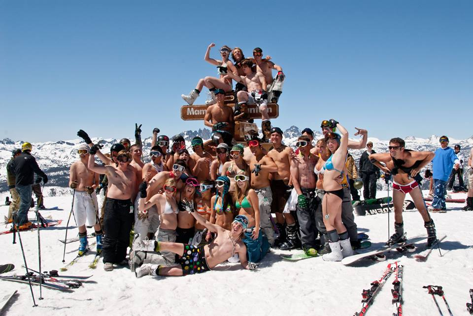 Unseasonally warm weather brings out bikinis and shorts at Mammoth Mountain