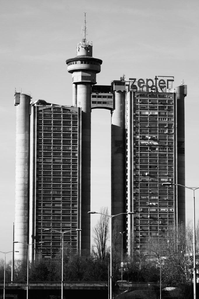 Western City Gate Genex Tower, designed in 1977 is seen as a perfect example of Brutalist architecture.