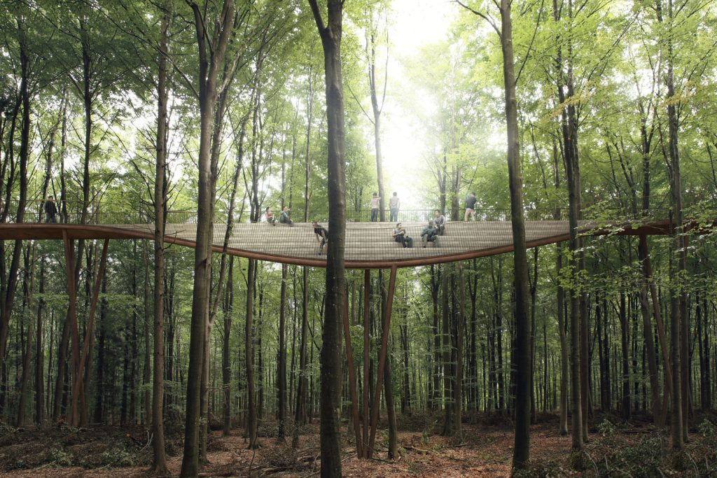 There will be plenty of rest stops along the forest canopy walk. Image by EFFEKT