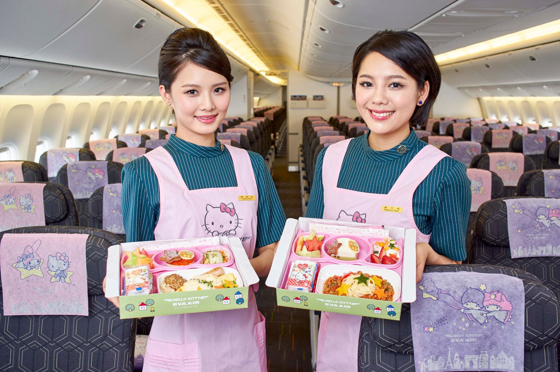 Eva Airline crew don Hello Kitty uniforms.