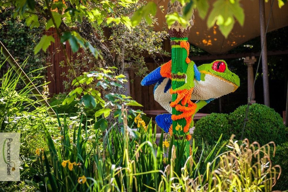 A treefrog made from Lego peers out from the trees. Image by Planckendael