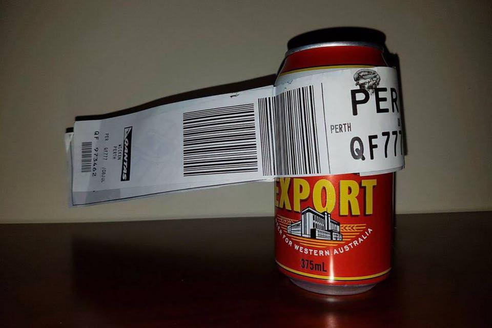 The now-famous can of beer.