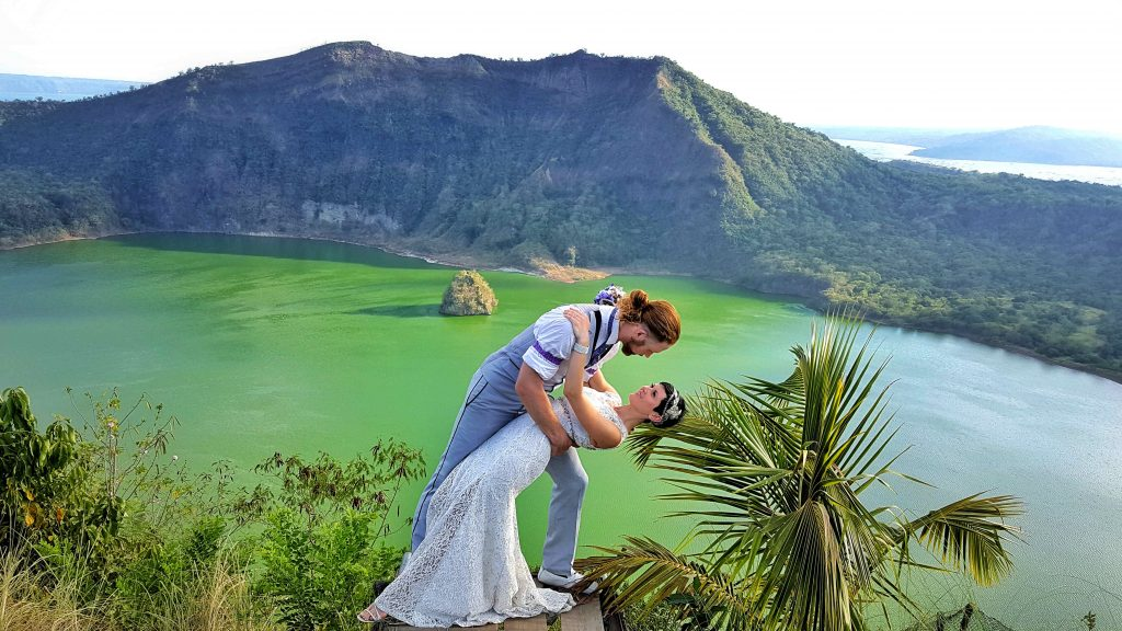 A dip at the Taal Volcano in the Philippines.