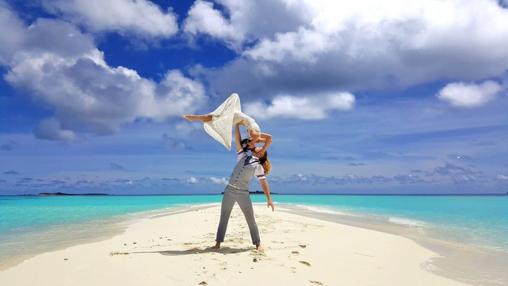 The acrobatic pair got married in the Maldives.