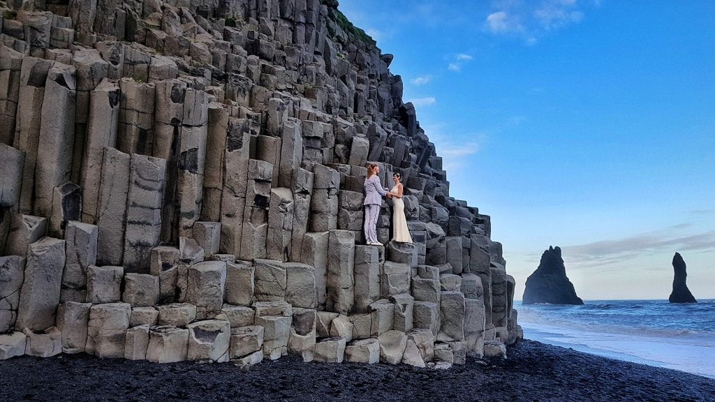 The pair held a wedding ceremony on Iceland's incredibly dramatic scenery.