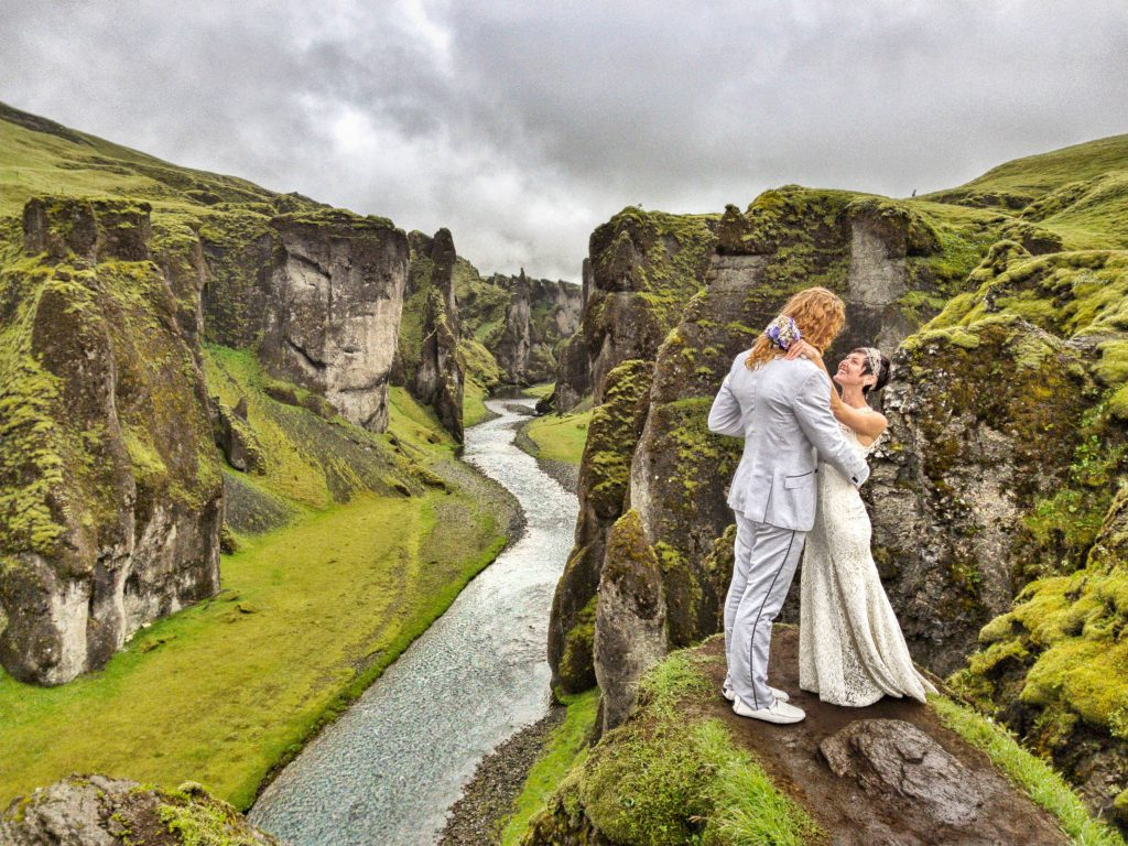 A canyon in Iceland served as the scenery for another wedding.