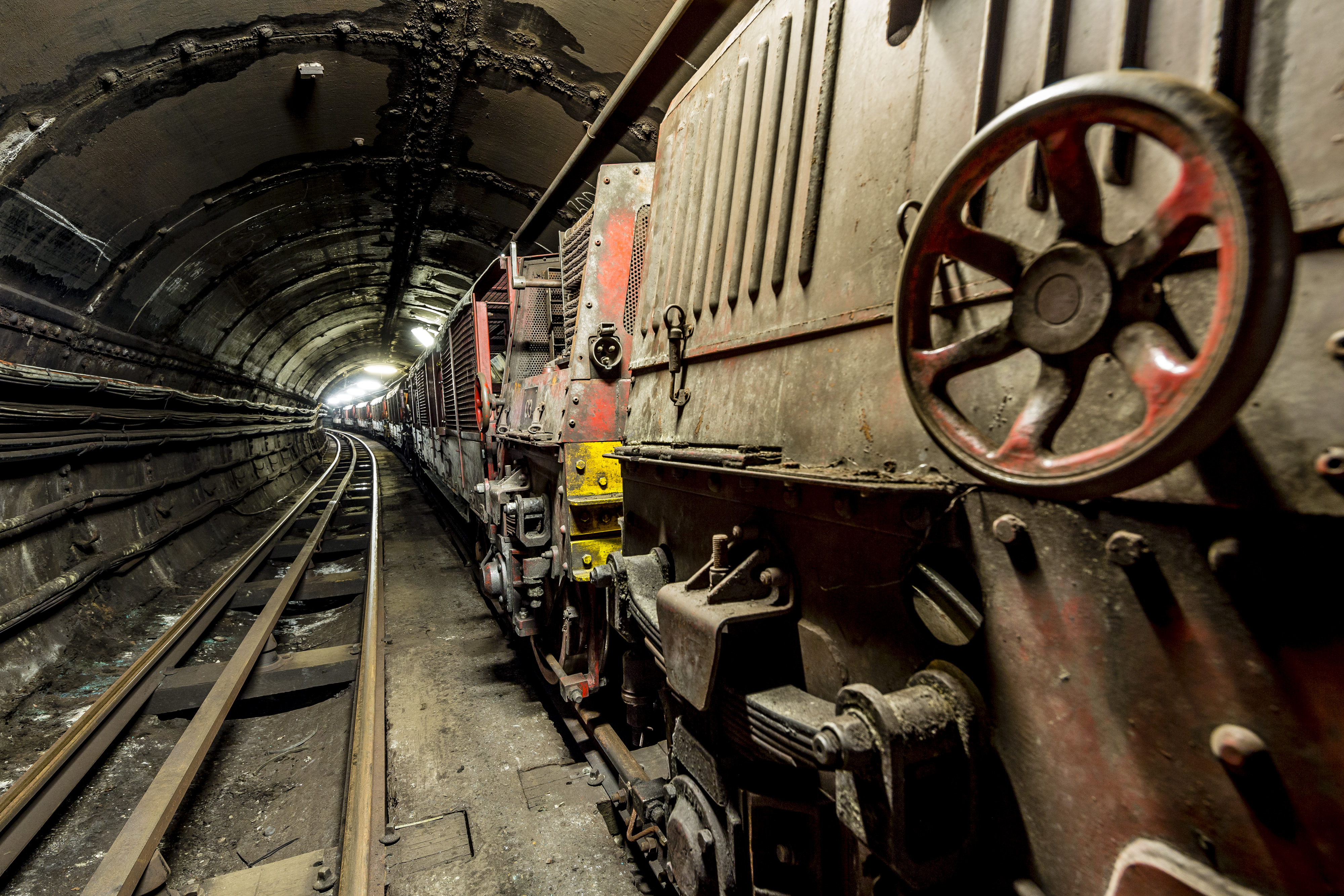 The train tunnels of The Postal Museum Mail Rail ride