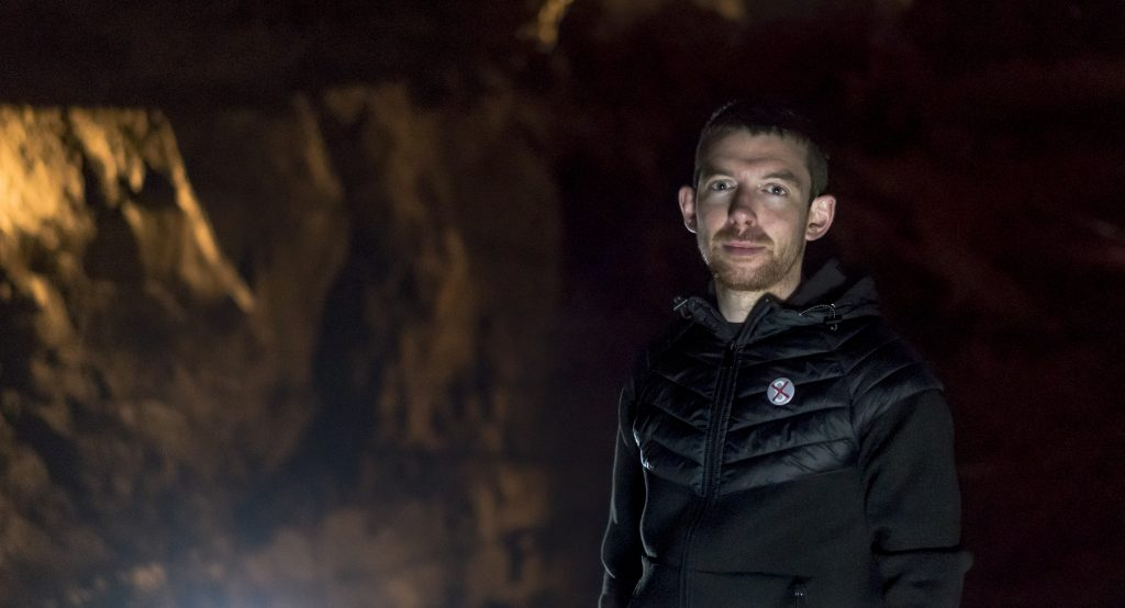 The artist Alan James Burns inside the Aillwee Caves in Co Clare.