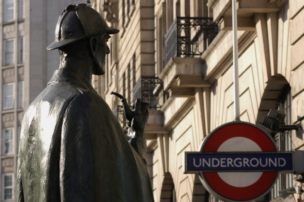 Baker Street tube station with a statue of Sherlock Holmes outside. Image: Chris Stowers