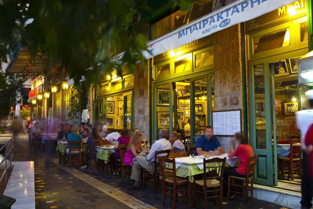 Diners enjoying Greek Cuisine in one of Monastirakis many Restaurants, Monastiraki, Athens, Greece