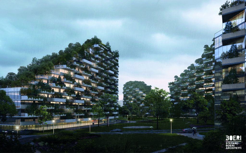 Ground view of the planned forest city in Liuzho. Image courtesy of Stefano Boeri Architects